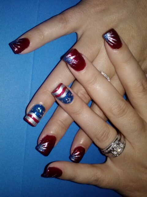 red white and blue nail art design - Red White And Blue Nail Art Designs -WEHOTFLASH