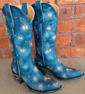 bright blue boots with sparkle