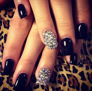 Black Nail Art designs using black nail polish